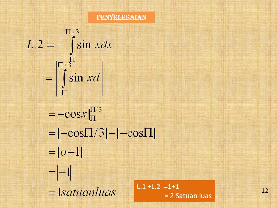 Contoh 5. Tentukan Luas Daerah yang Dibatasi oleh kurva fungsi y = sin x Pada selang {∏/2 < x < ∏} Penyelesaian Y =sin x ox y 11