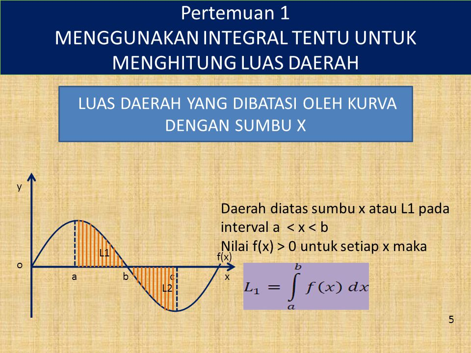 Pertemuan 1 MENGGUNAKAN INTEGRAL TENTU UNTUK MENGHITUNG LUAS DAERAH LUAS DAERAH YANG DIBATASI OLEH KURVA DENGAN SUMBU X abcx y o f(x) L1 L2 Daerah diatas sumbu x atau L1 pada interval a < x < b Nilai f(x) > 0 untuk setiap x maka 5