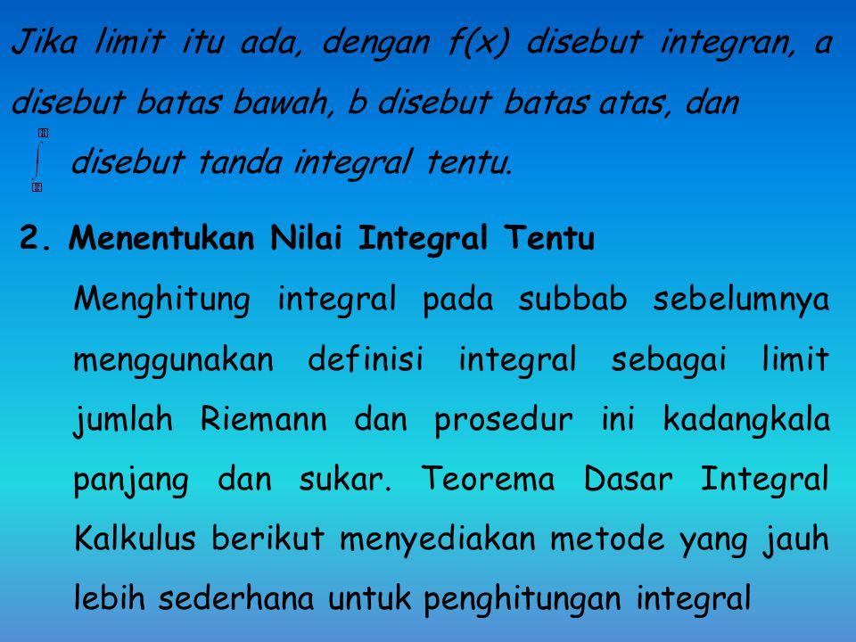 C. Integral Tentu 1.Pengertian Integral Tentu sebagai Luas Daerah di Bidang Datar Jika f suatu fungsi yang didefinisikan pada selang tutup [a, b], mak