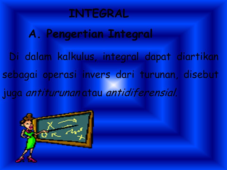Indikator : 1.Menentukan integral tak tentu dari fungsi aljabar sederhana. aljabar sederhana. 2. Menjelaskan integral tentu sebagai luas daerah di bid