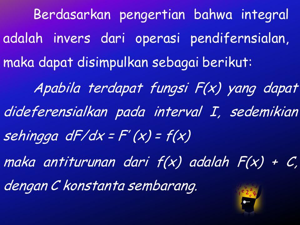 INTEGRAL A. Pengertian Integral Di dalam kalkulus, integral dapat diartikan sebagai operasi invers dari turunan, disebut juga antiturunan atau antidif
