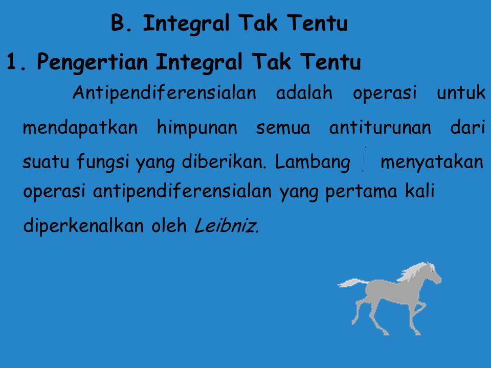Berdasarkan pengertian bahwa integral adalah invers dari operasi pendifernsialan, maka dapat disimpulkan sebagai berikut: Apabila terdapat fungsi F(x)