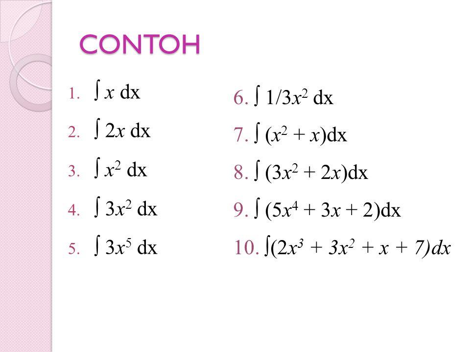 CONTOH 1. ∫ x dx 2. ∫ 2x dx 3. ∫ x 2 dx 4. ∫ 3x 2 dx 5. ∫ 3x 5 dx 6. ∫ 1/3x 2 dx 7. ∫ (x 2 + x)dx 8. ∫ (3x 2 + 2x)dx 9. ∫ (5x 4 + 3x + 2)dx 10. ∫(2x 3