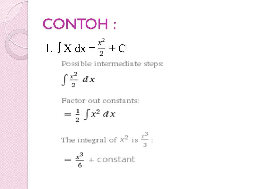 CONTOH : 1. ∫ X dx = + C