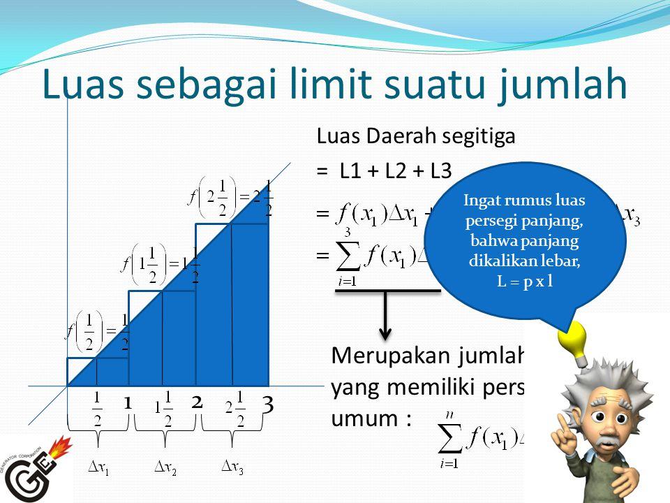 Luas sebagai limit suatu jumlah Luas Daerah segitiga = L1 + L2 + L3 3 1 2 Merupakan jumlah rieman, yang memiliki persamaan umum : Ingat rumus luas per