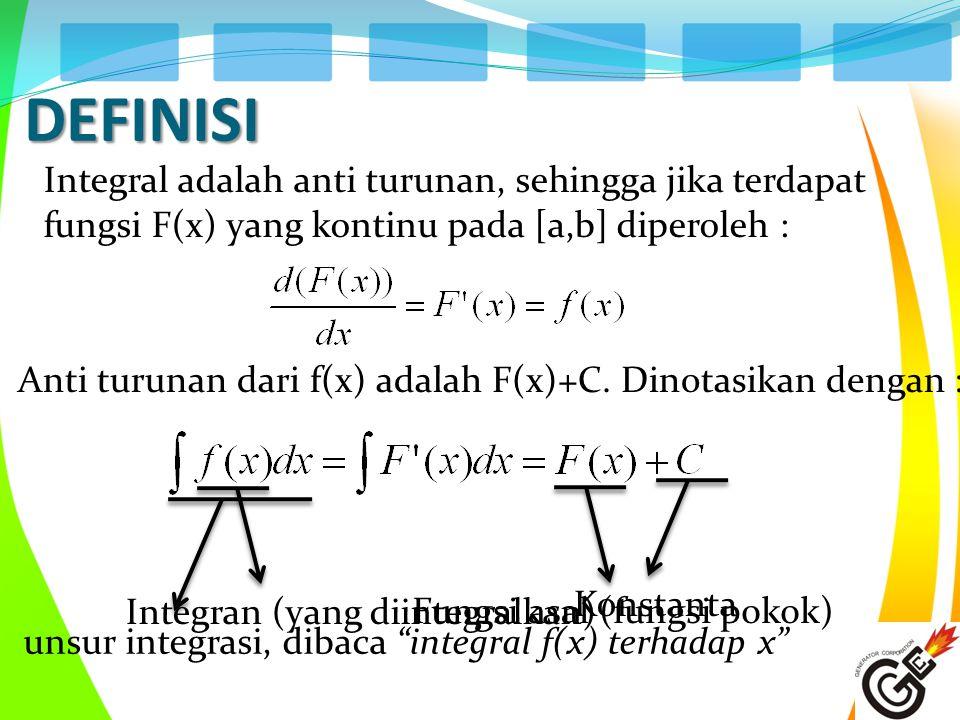 DEFINISI Integral adalah anti turunan, sehingga jika terdapat fungsi F(x) yang kontinu pada [a,b] diperoleh : Anti turunan dari f(x) adalah F(x)+C. Di