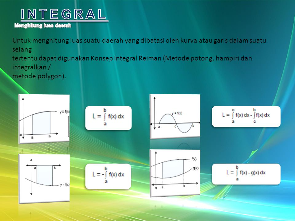 Untuk menghitung luas suatu daerah yang dibatasi oleh kurva atau garis dalam suatu selang tertentu dapat digunakan Konsep Integral Reiman (Metode potong, hampiri dan integralkan / metode polygon).