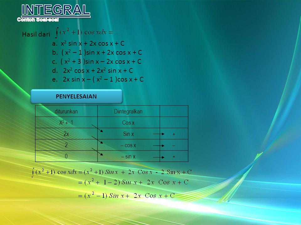 Hasil dari a. x 2 sin x + 2x cos x + C b. ( x 2 – 1 )sin x + 2x cos x + C c. ( x 2 + 3 )sin x – 2x cos x + C d. 2x 2 cos x + 2x 2 sin x + C e. 2x sin