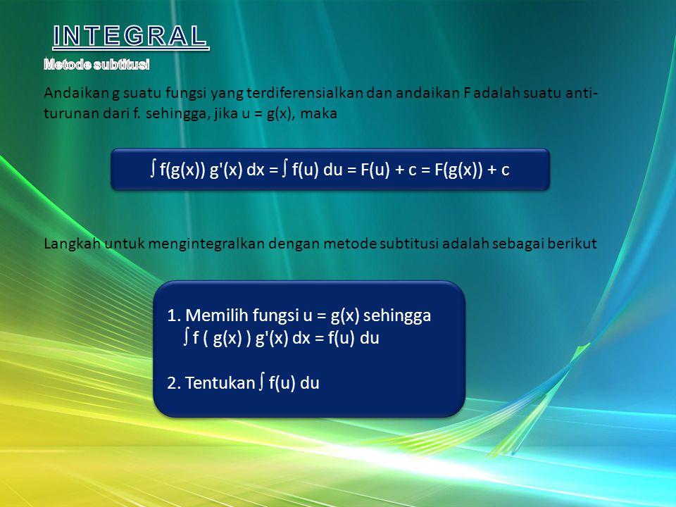 Andaikan g suatu fungsi yang terdiferensialkan dan andaikan F adalah suatu anti- turunan dari f. sehingga, jika u = g(x), maka  f(g(x)) g'(x) dx = 