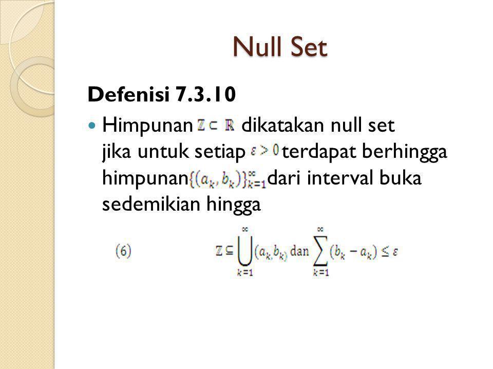 Null Set Defenisi 7.3.10 Himpunan dikatakan null set jika untuk setiap terdapat berhingga himpunan dari interval buka sedemikian hingga