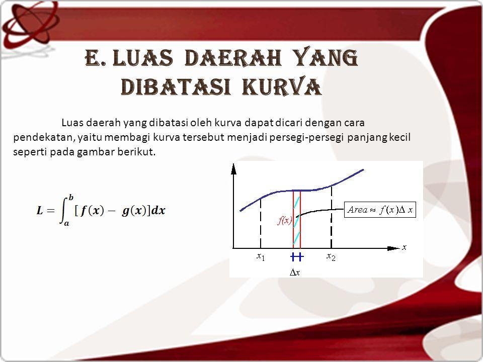 Luas daerah yang dibatasi oleh kurva dapat dicari dengan cara pendekatan, yaitu membagi kurva tersebut menjadi persegi-persegi panjang kecil seperti p