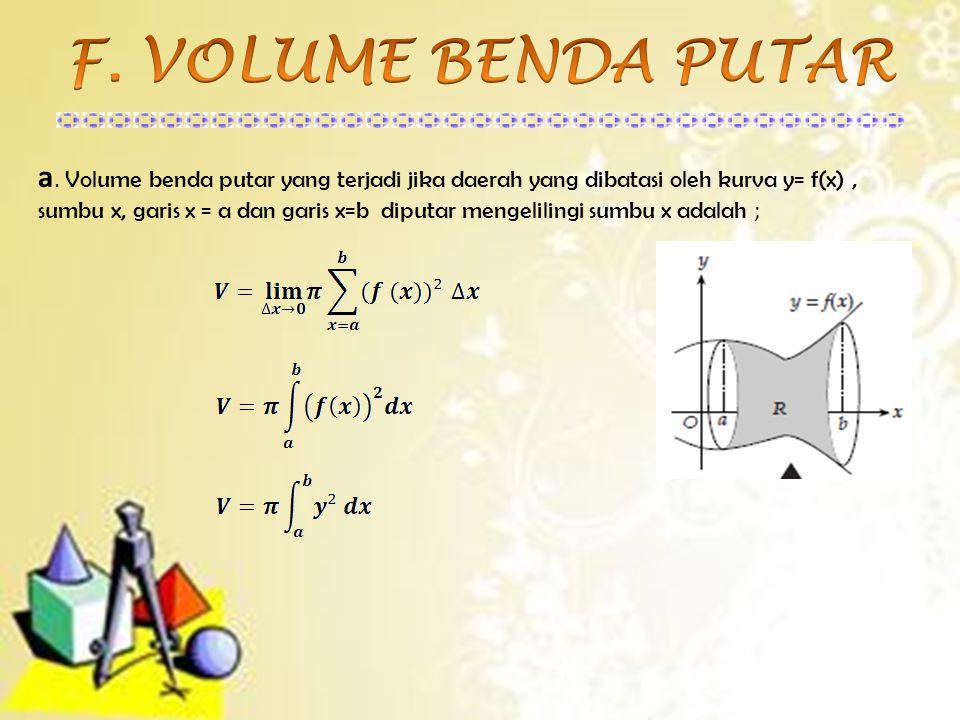 a. Volume benda putar yang terjadi jika daerah yang dibatasi oleh kurva y= f(x), sumbu x, garis x = a dan garis x=b diputar mengelilingi sumbu x adala