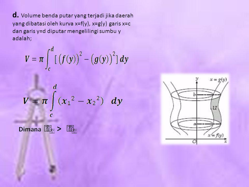 d. Volume benda putar yang terjadi jika daerah yang dibatasi oleh kurva x=f(y), x=g(y) garis x=c dan garis y=d diputar mengelilingi sumbu y adalah;