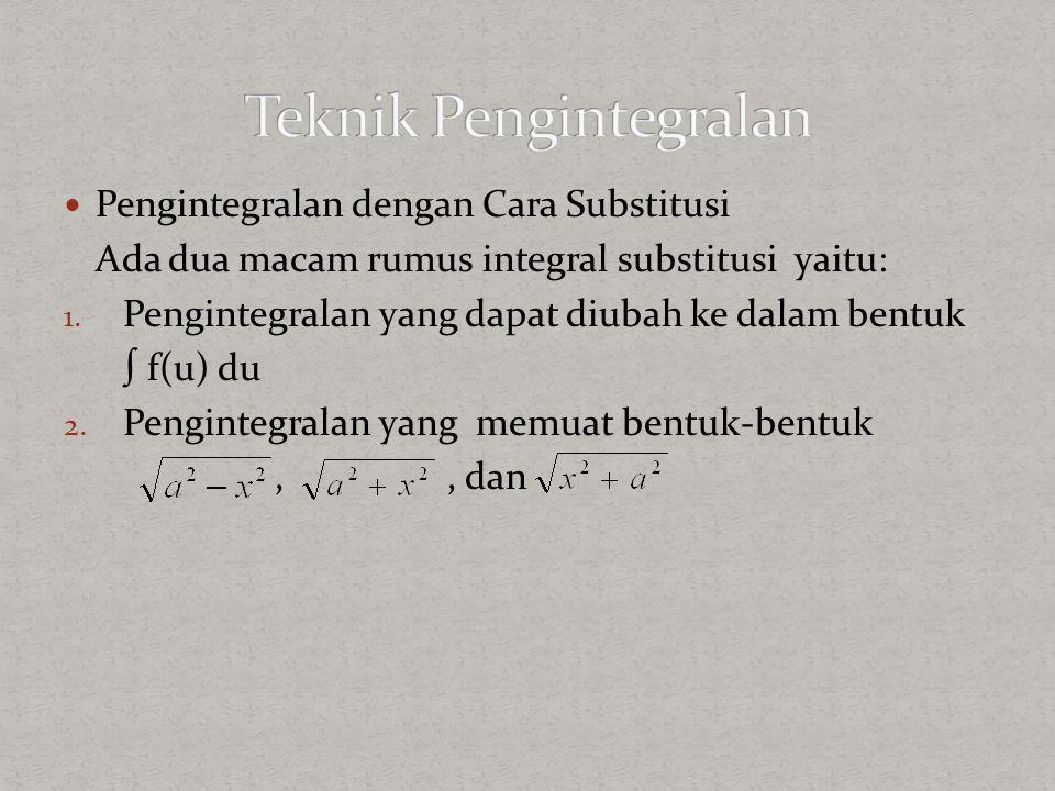 Pengintegralan dengan Cara Substitusi Ada dua macam rumus integral substitusi yaitu: 1. Pengintegralan yang dapat diubah ke dalam bentuk ∫ f(u) du 2.