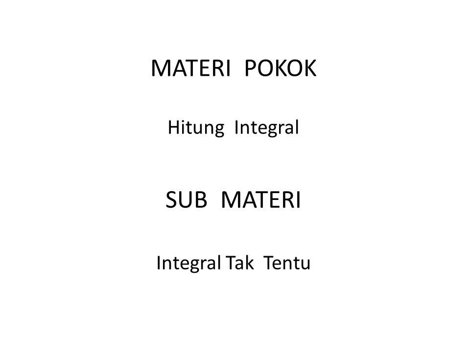 MATERI POKOK Hitung Integral SUB MATERI Integral Tak Tentu
