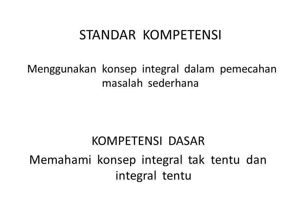 STANDAR KOMPETENSI Menggunakan konsep integral dalam pemecahan masalah sederhana KOMPETENSI DASAR Memahami konsep integral tak tentu dan integral tentu