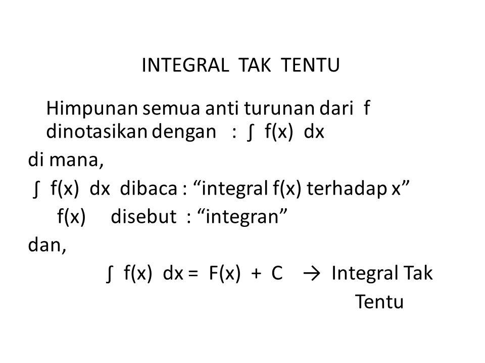 INTEGRAL TAK TENTU Himpunan semua anti turunan dari f dinotasikan dengan : ∫ f(x) dx di mana, ∫ f(x) dx dibaca : integral f(x) terhadap x f(x) disebut : integran dan, ∫ f(x) dx = F(x) + C → Integral Tak Tentu
