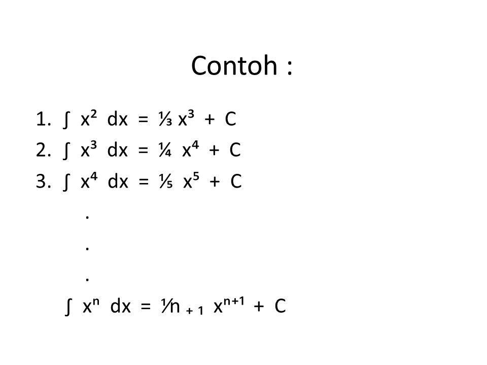 Contoh : 1.∫ x² dx = ⅓ x³ + C 2.∫ x³ dx = ¼ x⁴ + C 3.∫ x⁴ dx = ⅕ x⁵ + C. ∫ xⁿ dx = ⅟n ₊ ₁ xⁿ⁺¹ + C