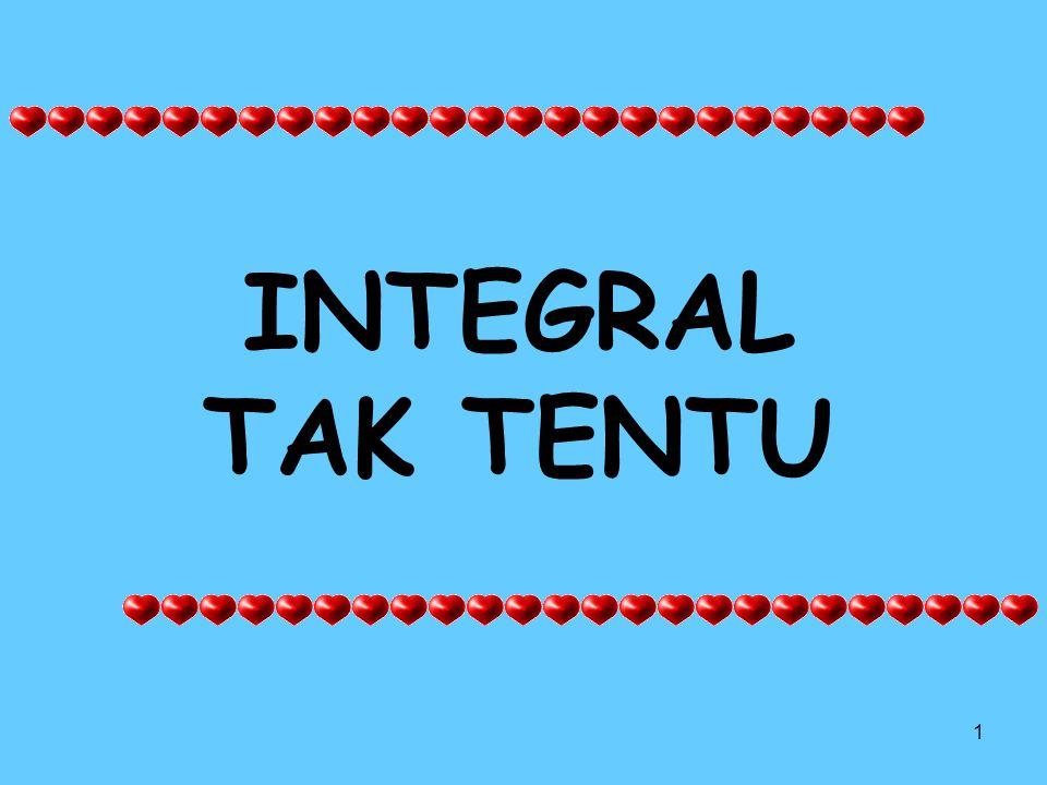 2 Rumus umum integral f(x) = integran (fungsi yg diintegralkan) a dan b = batas pengintegralan a = batas bawah b = batas atas dx = faktor pengintegral C = konstanta F = hasil integral dari f(x)