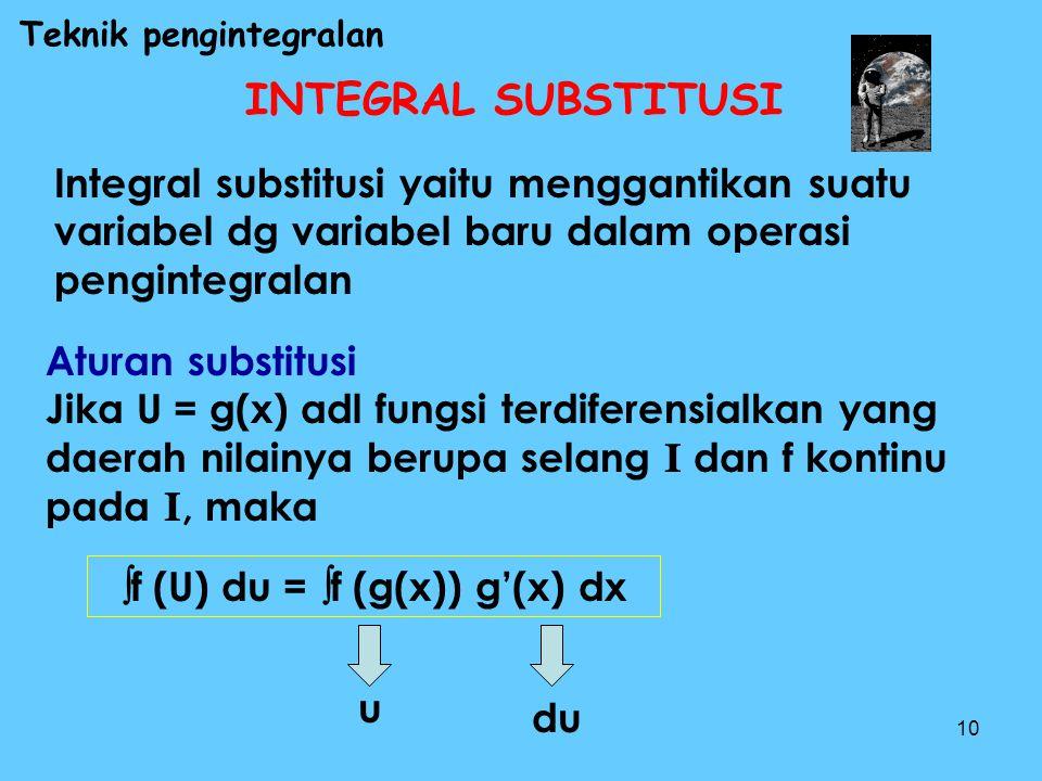 10 INTEGRAL SUBSTITUSI Integral substitusi yaitu menggantikan suatu variabel dg variabel baru dalam operasi pengintegralan Aturan substitusi Jika U =