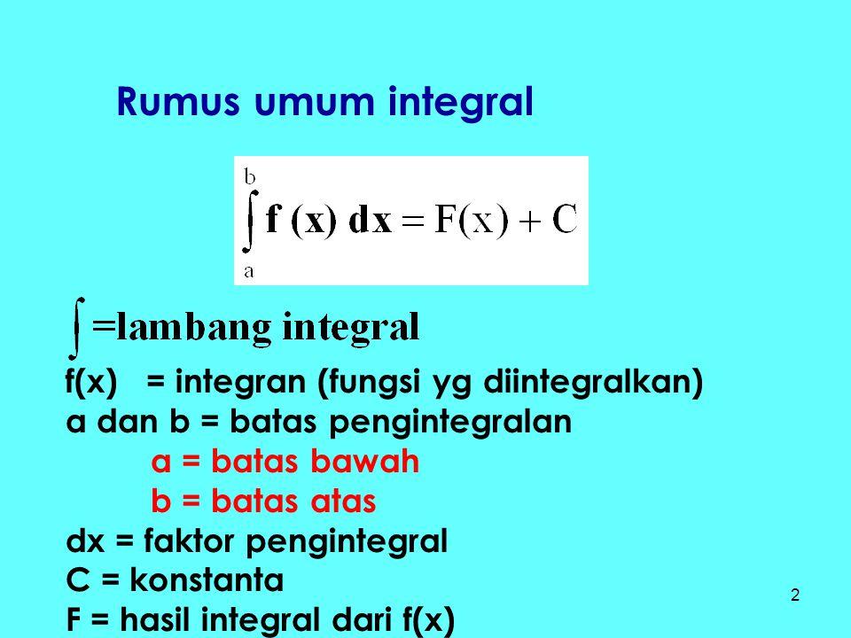 2 Rumus umum integral f(x) = integran (fungsi yg diintegralkan) a dan b = batas pengintegralan a = batas bawah b = batas atas dx = faktor pengintegral