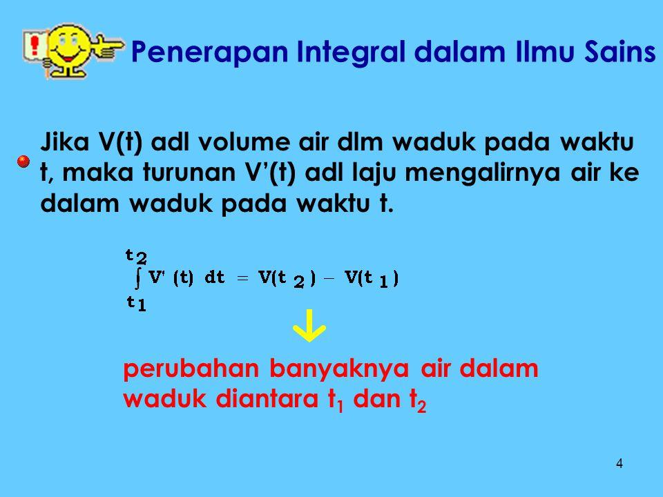 4 Jika V(t) adl volume air dlm waduk pada waktu t, maka turunan V'(t) adl laju mengalirnya air ke dalam waduk pada waktu t. perubahan banyaknya air da