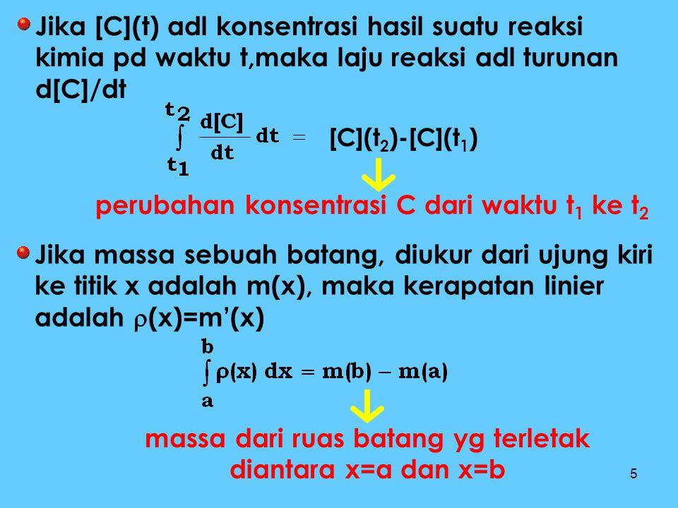 5 [C](t 2 )-[C](t 1 ) Jika [C](t) adl konsentrasi hasil suatu reaksi kimia pd waktu t,maka laju reaksi adl turunan d[C]/dt perubahan konsentrasi C dar