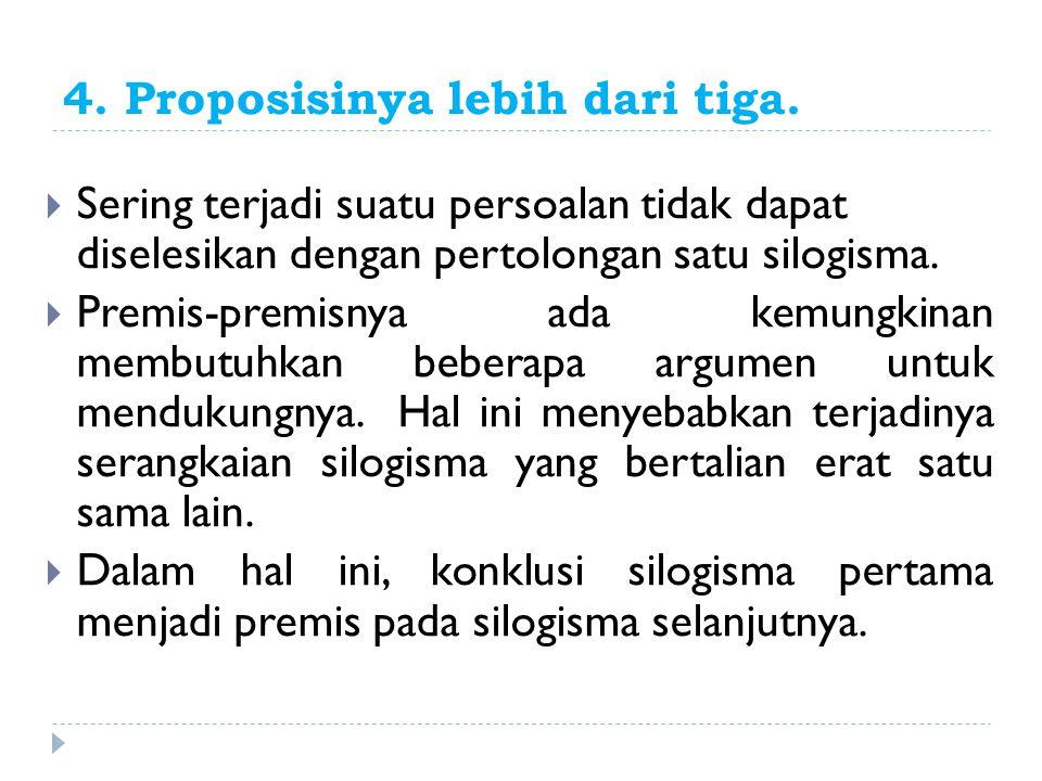 4. Proposisinya lebih dari tiga.  Sering terjadi suatu persoalan tidak dapat diselesikan dengan pertolongan satu silogisma.  Premis-premisnya ada ke