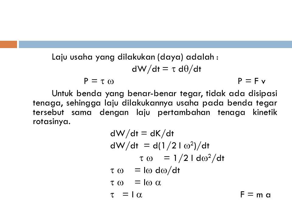 Laju usaha yang dilakukan (daya) adalah : dW/dt =  d  /dt P =   P = F v Untuk benda yang benar-benar tegar, tidak ada disipasi tenaga, sehingga la