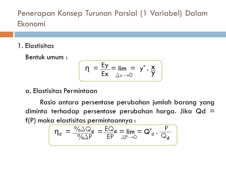 Penerapan Konsep Turunan Parsial (1 Variabel) Dalam Ekonomi 1. Elastisitas Bentuk umum : η = = lim= y ′. a. Elastisitas Permintaan Rasio antara persen