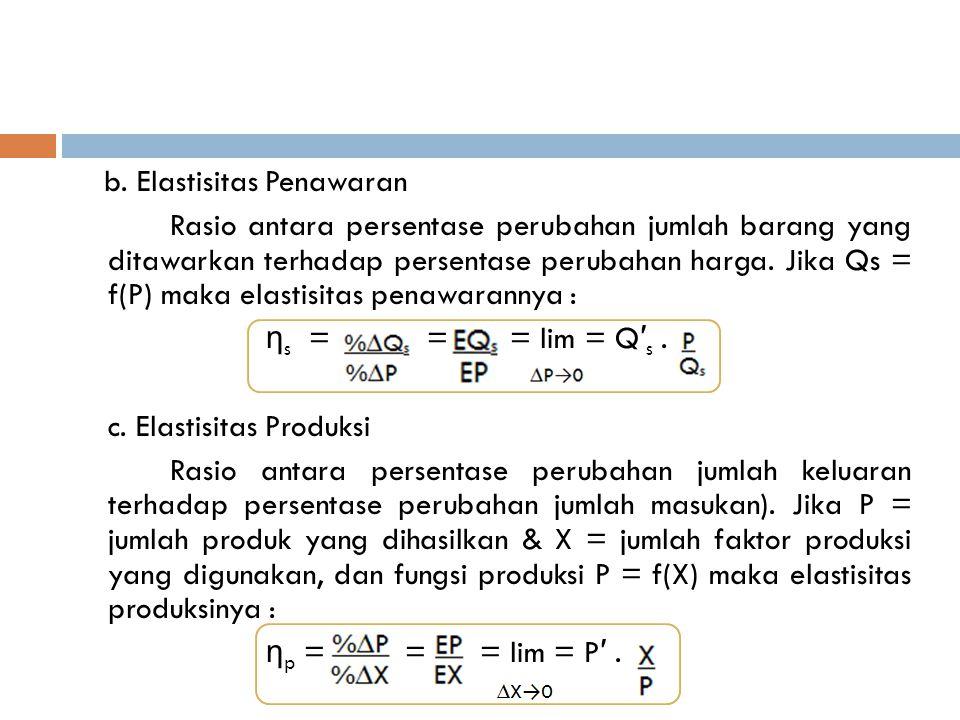 b. Elastisitas Penawaran Rasio antara persentase perubahan jumlah barang yang ditawarkan terhadap persentase perubahan harga. Jika Qs = f(P) maka elas