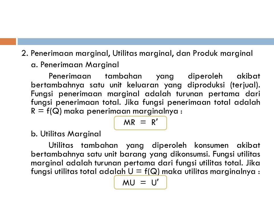 2. Penerimaan marginal, Utilitas marginal, dan Produk marginal a. Penerimaan Marginal Penerimaan tambahan yang diperoleh akibat bertambahnya satu unit