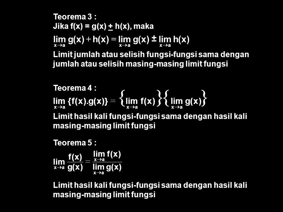 Teorema 5 : Limit hasil kali fungsi-fungsi sama dengan hasil kali masing-masing limit fungsi Teorema 4 : Limit hasil kali fungsi-fungsi sama dengan ha