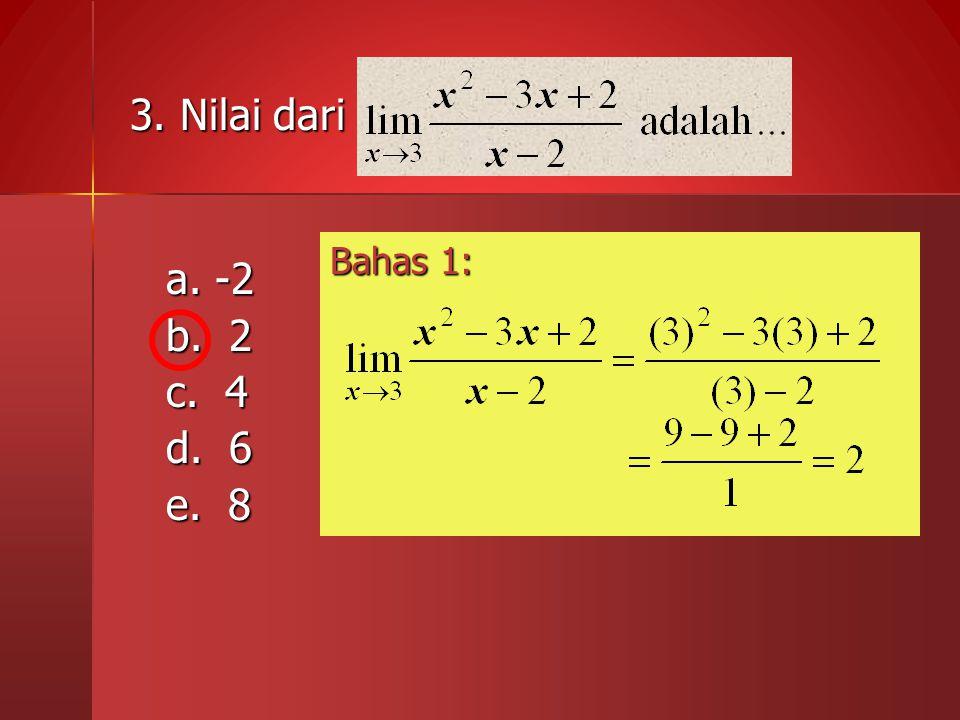 3. Nilai dari a. -2 b. 2 c. 4 d. 6 e. 8 Bahas 1: