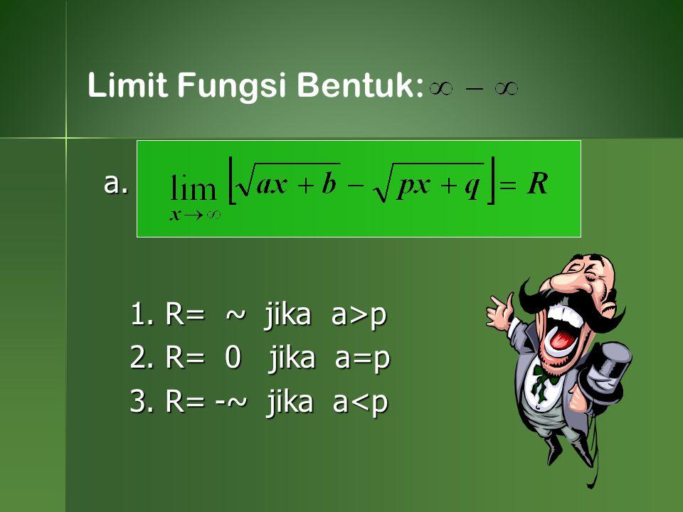 a. 1. R= ~ jika a>p 1. R= ~ jika a>p 2. R= 0 jika a=p 3. R= -~ jika a<p Limit Fungsi Bentuk: