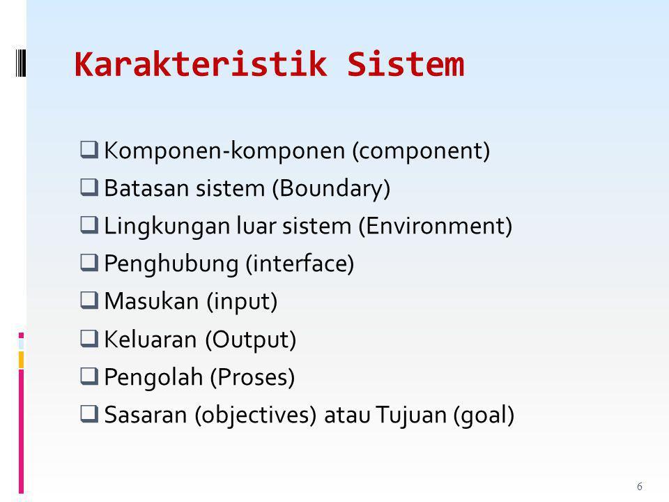 Karakteristik Sistem  Komponen-komponen (component)  Batasan sistem (Boundary)  Lingkungan luar sistem (Environment)  Penghubung (interface)  Masukan (input)  Keluaran (Output)  Pengolah (Proses)  Sasaran (objectives) atau Tujuan (goal) 6