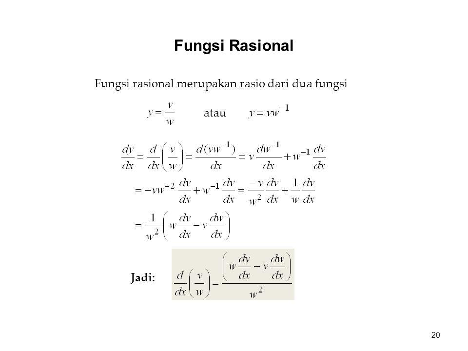 Fungsi rasional merupakan rasio dari dua fungsi atau Jadi: 20 Fungsi Rasional