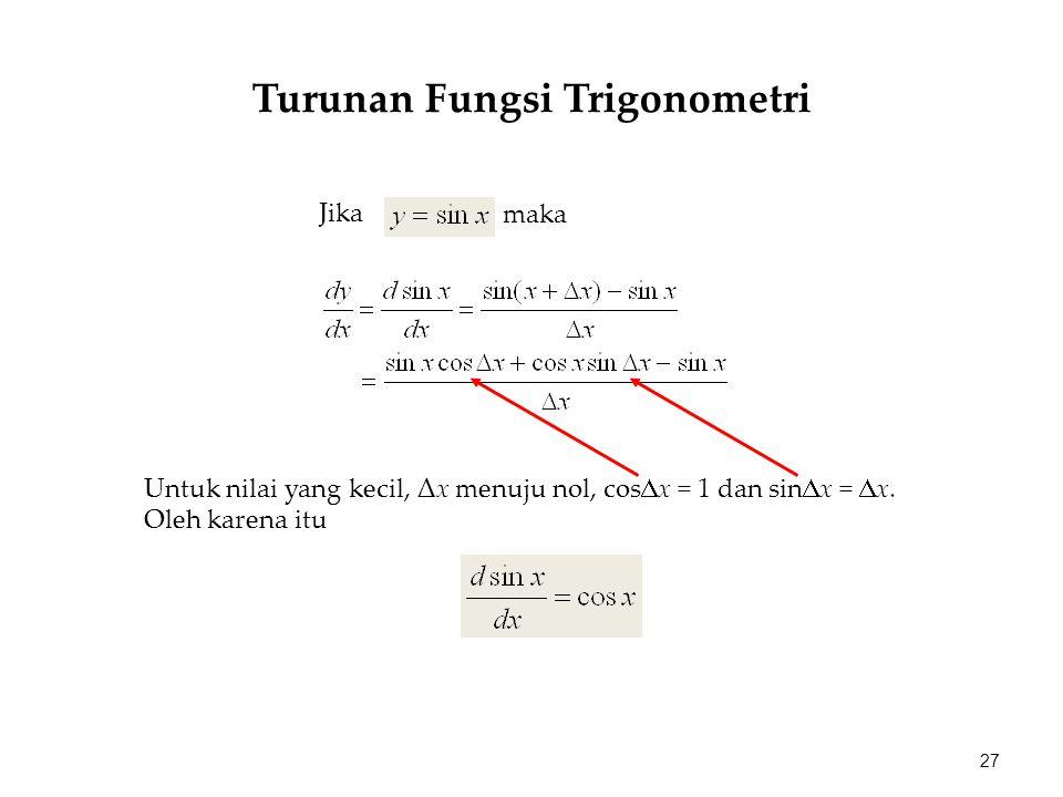 maka Jika Untuk nilai yang kecil, Δx menuju nol, cos  x = 1 dan sin  x =  x. Oleh karena itu 27 Turunan Fungsi Trigonometri