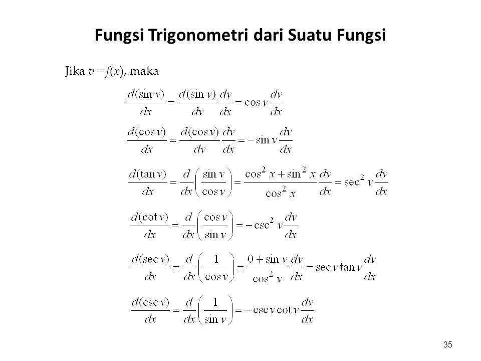 Jika v = f(x), maka 35 Fungsi Trigonometri dari Suatu Fungsi