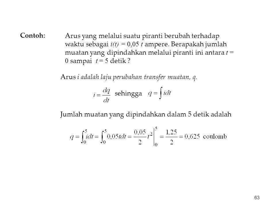 Arus yang melalui suatu piranti berubah terhadap waktu sebagai i(t) = 0,05 t ampere. Berapakah jumlah muatan yang dipindahkan melalui piranti ini anta