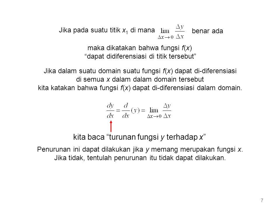 Contoh di atas menunjukkan bahwa dengan definisi mengenai A px, formulasi tetap berlaku untuk kurva yang memiliki bagian baik di atas maupun di bawah sumbu-x p q y x A4A4 A1A1 A2A2 A3A3 y = f(x) 58