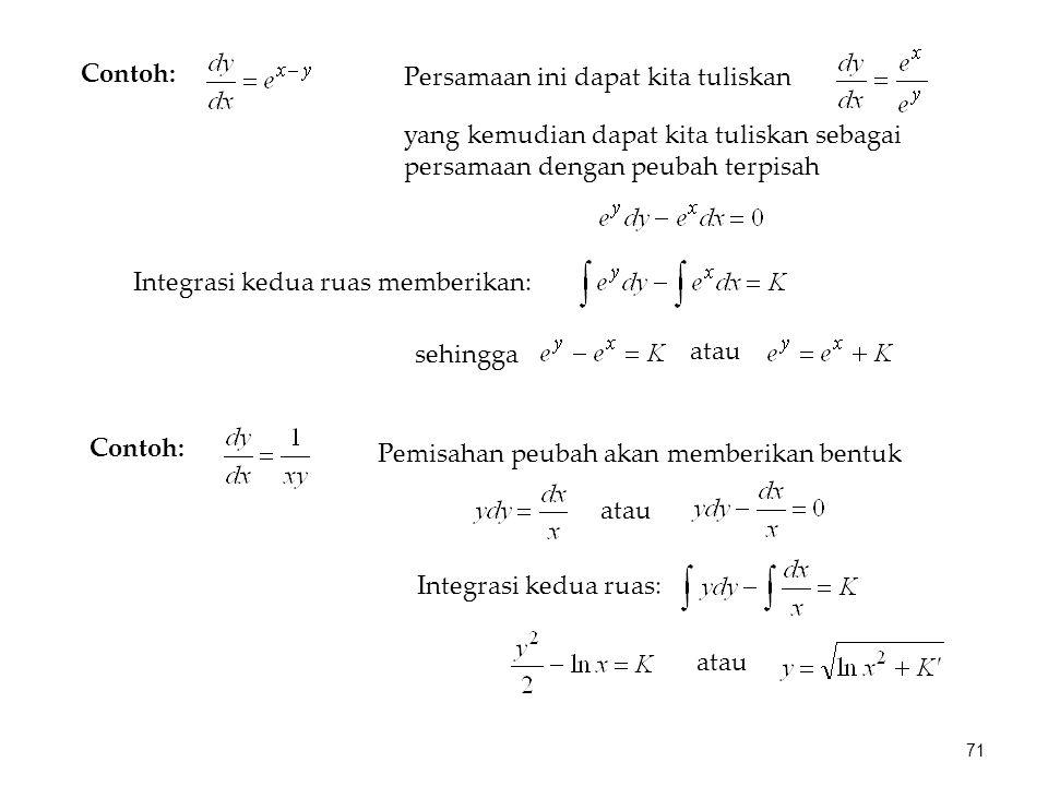 Persamaan ini dapat kita tuliskan yang kemudian dapat kita tuliskan sebagai persamaan dengan peubah terpisah sehingga atau Contoh: Integrasi kedua rua