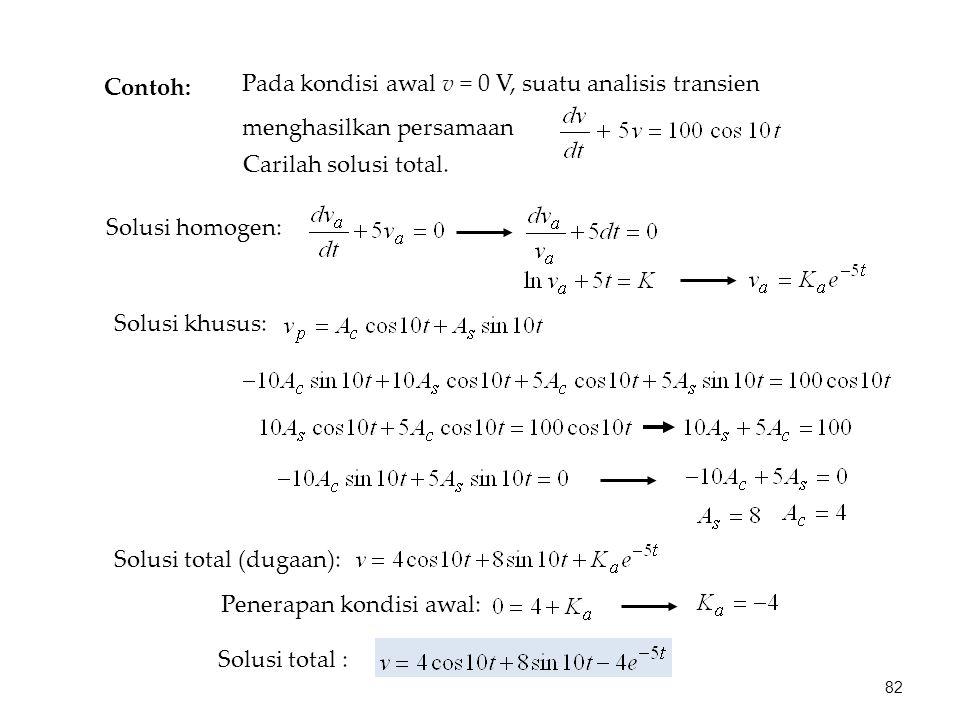 Contoh: Pada kondisi awal v = 0 V, suatu analisis transien menghasilkan persamaan Carilah solusi total. Solusi homogen: Solusi khusus: Solusi total (d