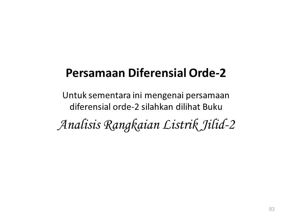 Untuk sementara ini mengenai persamaan diferensial orde-2 silahkan dilihat Buku Analisis Rangkaian Listrik Jilid-2 83 Persamaan Diferensial Orde-2