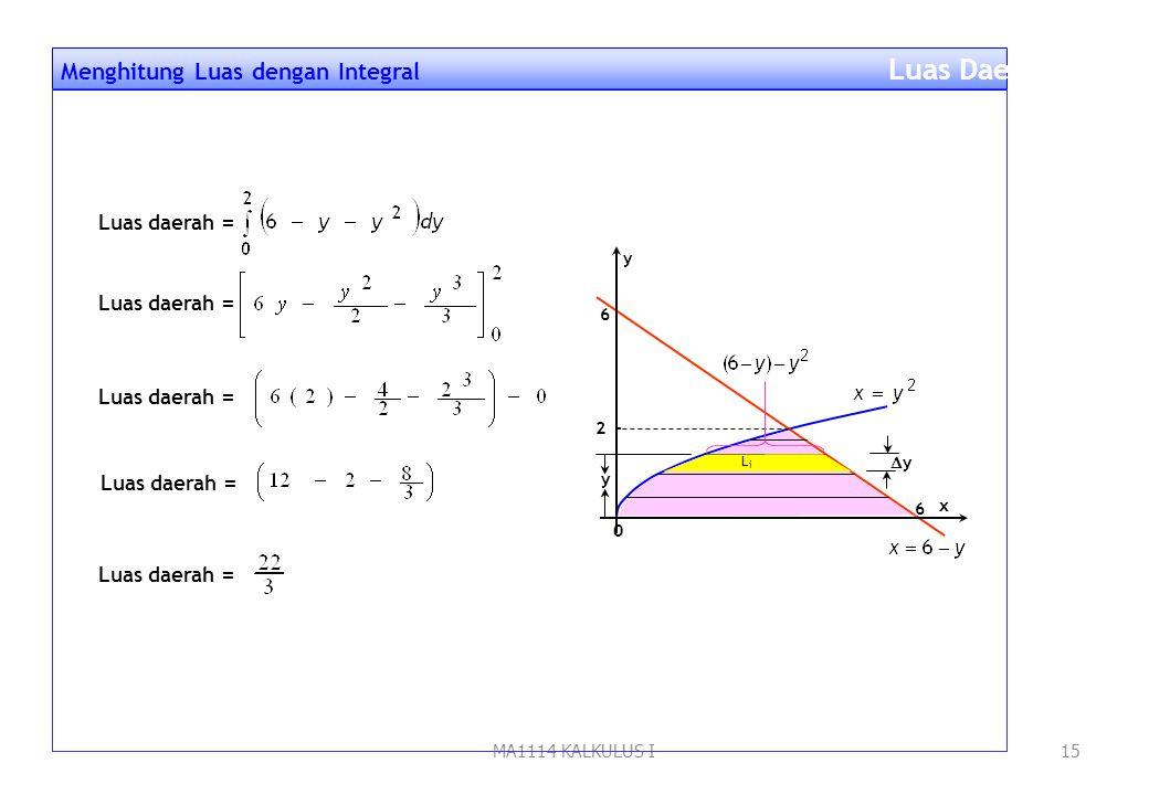 MA1114 KALKULUS I14 Hitunglah luas daerah di kuadran I yang dibatasi kurva y 2 = x, garis x + y = 6, dan sumbu x Contoh 5. Langkah penyelesaian: 1.Gam