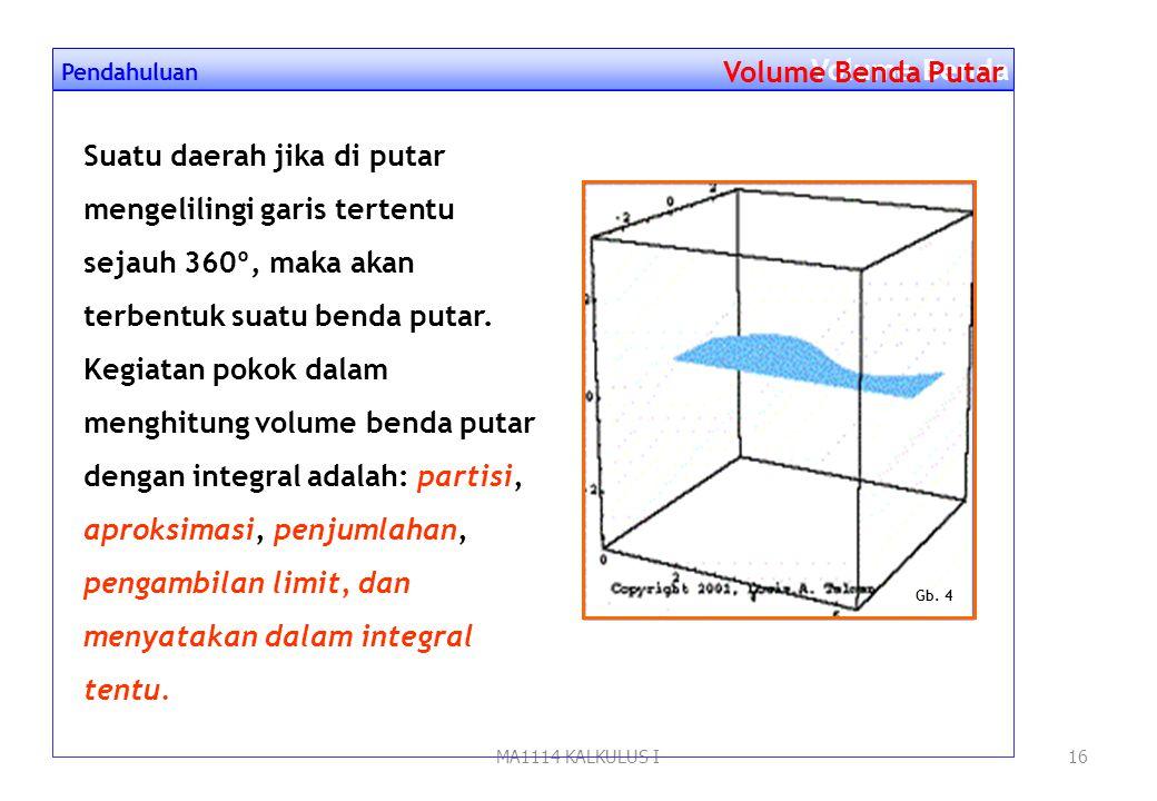 MA1114 KALKULUS I15 Luas daerah = 2 y 6 x 0 6 LiLi yy y Menghitung Luas dengan Integral Luas Daerah