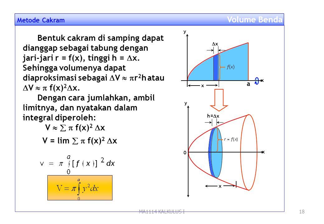 MA1114 KALKULUS I17 Pendahuluan Volume Benda Putar Volume Benda Putar Dalam menentukan volume benda putar yang harus diperhatikan adalah bagaimana ben