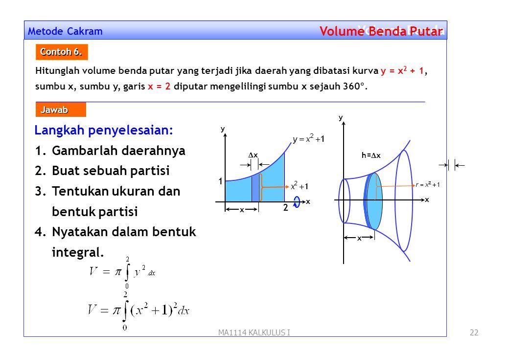 MA1114 KALKULUS I21 Metode Cakram Volume Benda Putar x y h=yh=y y 2 y = x 2