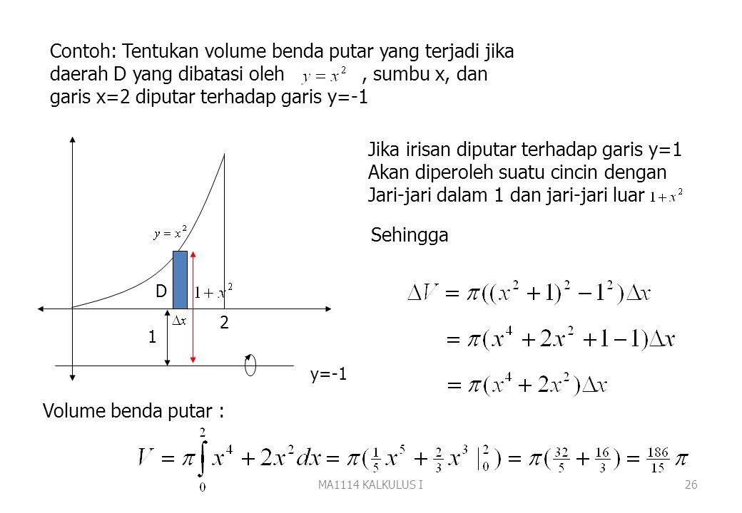 MA1114 KALKULUS I25 h(x) g(x) a b D Untuk menghitung volume benda putar gunakan pendekatan Iris, hampiri, jumlahkan dan ambil limitnya. Jika irisan be