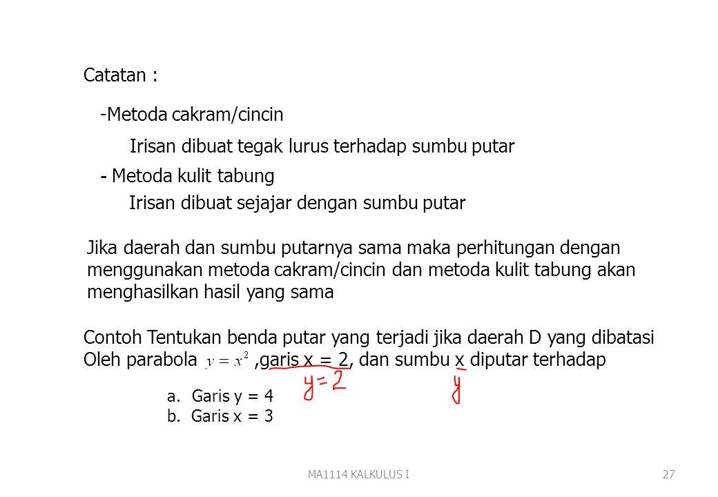 MA1114 KALKULUS I26 Contoh: Tentukan volume benda putar yang terjadi jika daerah D yang dibatasi oleh, sumbu x, dan garis x=2 diputar terhadap garis y